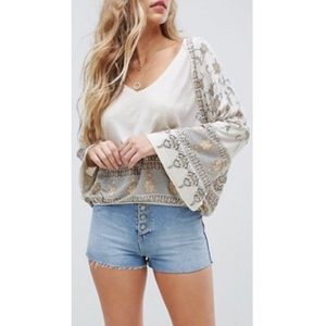 FREE PEOPLE Medallion Print Bell Sleeve Blouse Top